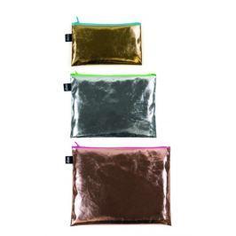 Cestovní taštičky na zip LOQI METALLIC Zip Pockets, 3 ks