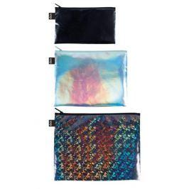 Cestovní taštičky na zip LOQI METALLIC Black, Pearl, Prism, 3 ks