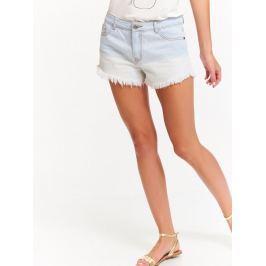 Top Secret šortky dámské světle modré jeans s třásněmi