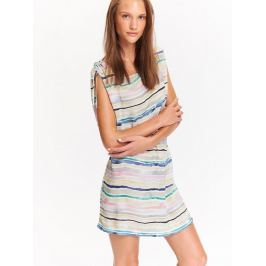 Top Secret šaty dámské béžové s pruhama a gumou v pase poslední kus