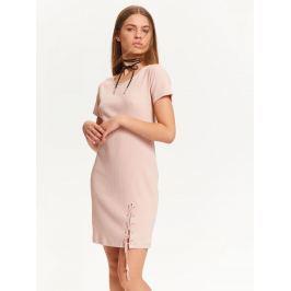 Top Secret šaty dámské růžové s krátkým rukávem a šněrováním