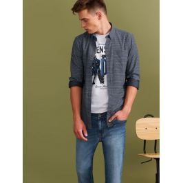 Top Secret Košile pánská tmavě modrá vzorovaná s dlouhým rukávem