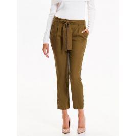 Top Secret Kalhoty dámské khaki látkové s páskem