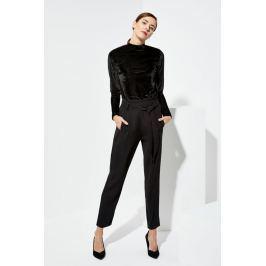 Moodo Kalhoty dámské  černé s látkovým páskem