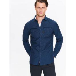 Top Secret Košile pánská tmavě modrá jeans s dlouhým rukávem