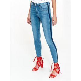 Top Secret Jeansy dámské modré s tmavým pruhem na boku