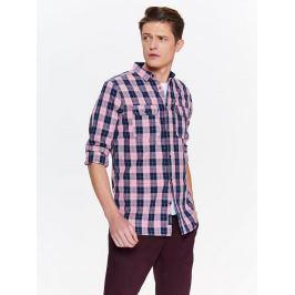 Top Secret Košile pánská růžová kostkovaná s dlouhým rukávem