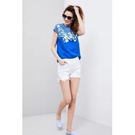 Moodo Kraťasy dámské bílé jeans zdobené krajkou