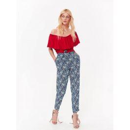 Top Secret Kalhoty dámské modré květované