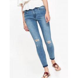 Top Secret Jeansy dámské modré s průstřihy na kolenou