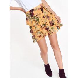 Top Secret Sukně dámská žlutá s květinami a volánky