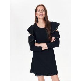 Top Secret Šaty dámské černé s volánkem a průstřihem na 3/4 rukávu