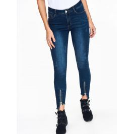Top Secret Jeansy dámské modré se zipy