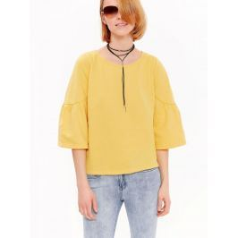 Top Secret Mikina dámská žlutá s 3/4 volánkovým rukávem