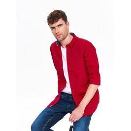 Top Secret Košile pánská červená se vzorem a dlouhým rukávem