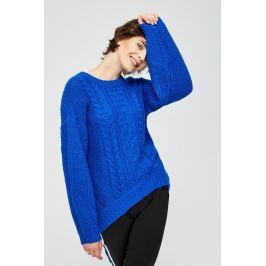 Moodo Svetr dámský modrý s rozšířeným rukávem