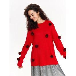 Top Secret Svetr dámský červený s kouličkama a dlouhým rukávem