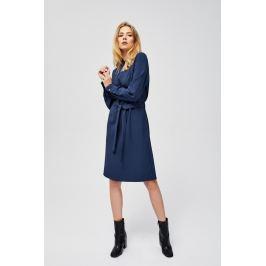 Moodo šaty dámské s dlouhým rukávem a zavazovacím páskem