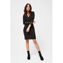 Moodo šaty dámské černé s dlouhým rukávem
