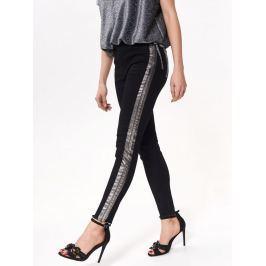 Top Secret Kalhoty dámské černé se stříbrným pruhem