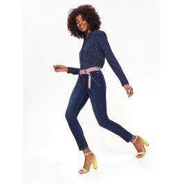 Top Secret Jeansy dámské modré SKINNY s páskem