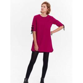 Top Secret šaty dámské tmavě červené se šněrováním na krátkých rukávech