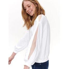 Top Secret Mikina dámská bílá s dlouhým průsvitným rukávem