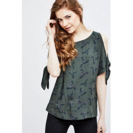 Moodo Košile dámská khaki bez zapínání s průstřihy na ramenou