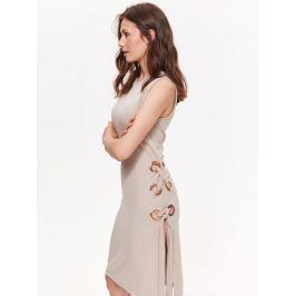 Top Secret šaty dámské béžové bez rukávu s kroužky na boku