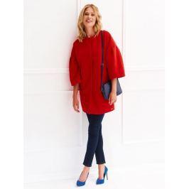 Top Secret Kabát dámský rudě červený na patenty s 3/4 rukávem