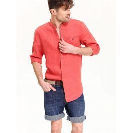 Top Secret Košile pánská červená lněná s dlouhým rukávem