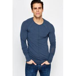 Slim Fit prošívané triko z jemné tkaniny a Raglan rukávy Barva: Modrá, Velikost: M