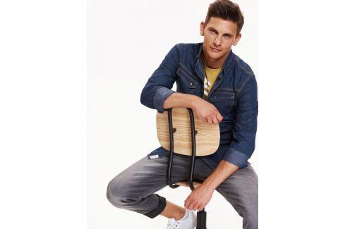Top Secret Košile pánská jeans s dlouhým rukávem Pánské košile