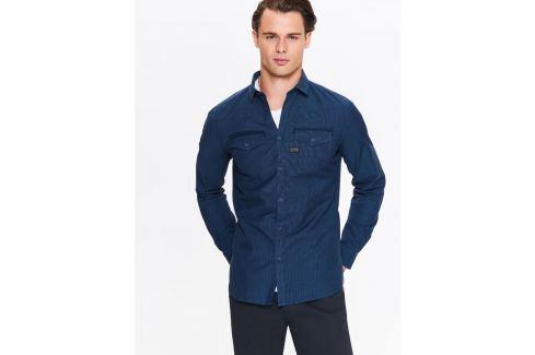 Top Secret Košile pánská tmavě modrá jeans s dlouhým rukávem Pánské košile