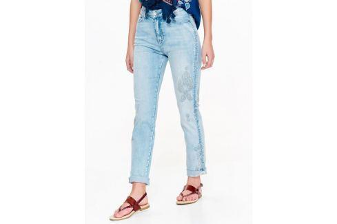 Top Secret Jeansy dámské světle modré s vyšíváním Dámské kalhoty