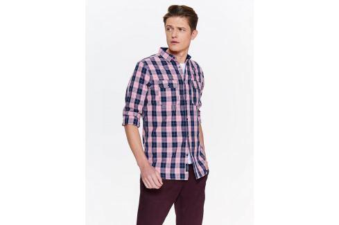 Top Secret Košile pánská růžová kostkovaná s dlouhým rukávem Pánské košile