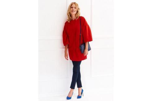 Top Secret Kabát dámský rudě červený na patenty s 3/4 rukávem Dámské kabáty