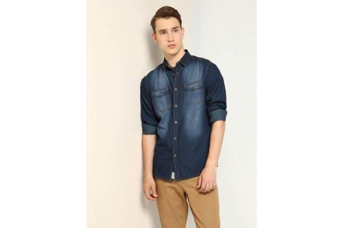 Top Secret Košile pánská jeans dlouhý rukáv poslední kus Pánské košile